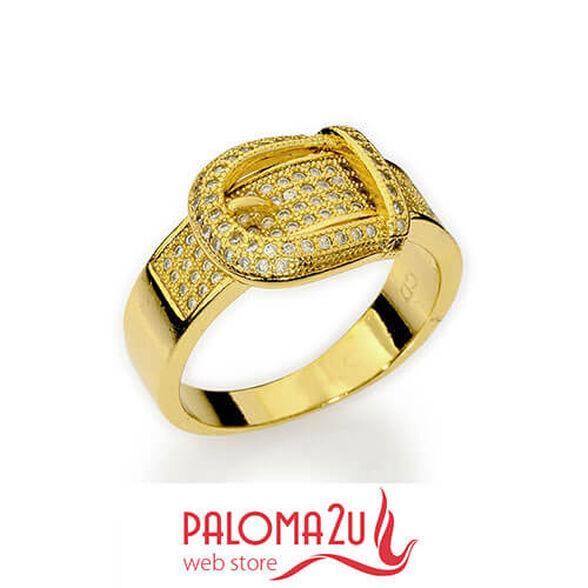 """טבעת בעיצוב חגורה בעלת שיבוץ קריסטלים פאבה pave קולקצייה """"תשוקה לזהב"""" בסגנון מודרני ואיכות מדהימה, , large image number null"""